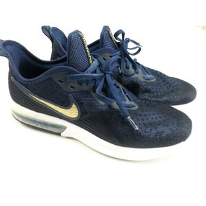 Nike Air Max Sequent 4 Size 10 Navy Gold Sneakers